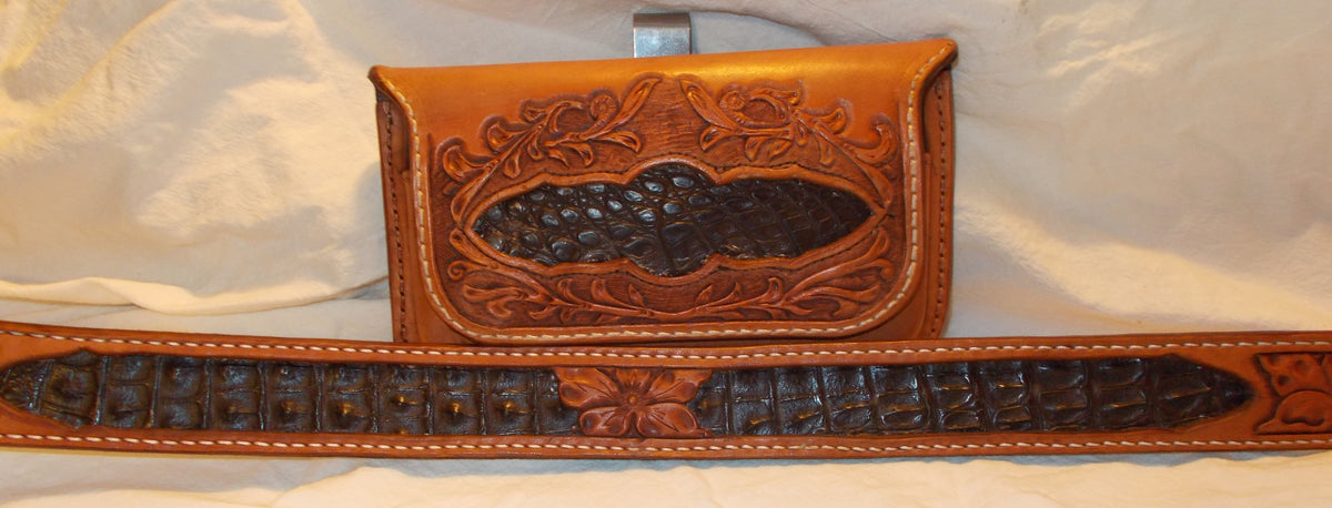 Caiman inlaid belt & cell case