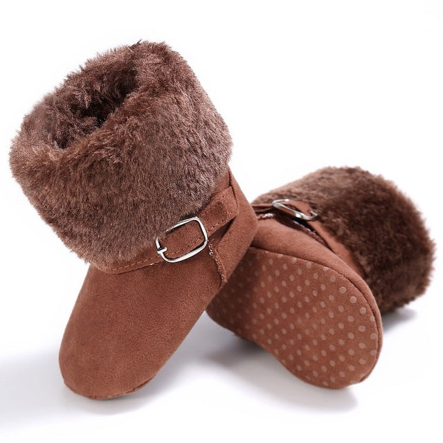 Dainty Buckle Fur Boots.