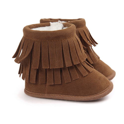 My Mocs Double Fringe Fur Boots