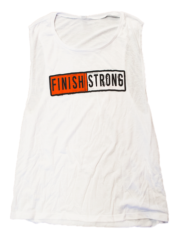 White Finish Strong Cotton Women's Muscle Tank