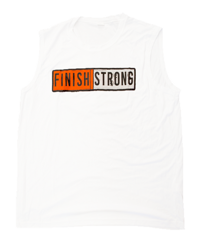 White Finish Strong Dry Fit Men's Muscle Tank
