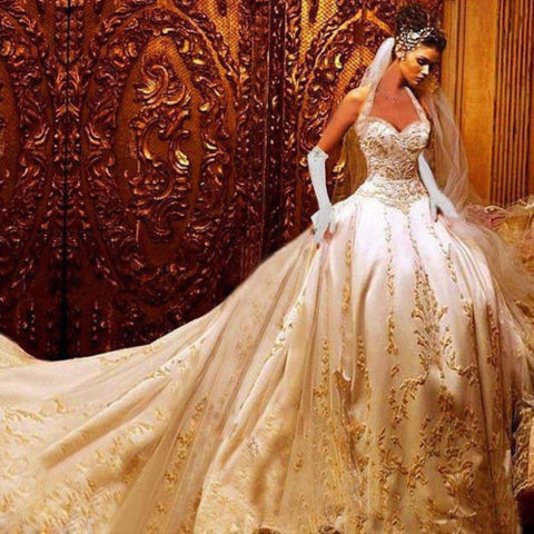'Luxurious Queen's Bridal Gown With Royal Train-Wedding Dresses-Weddings Enchanted