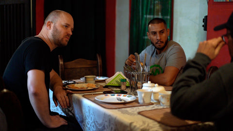 Still from video taken in Doña Maria's dining room. Paul Haworth, Juan Cano, and Pedro Echavarría.