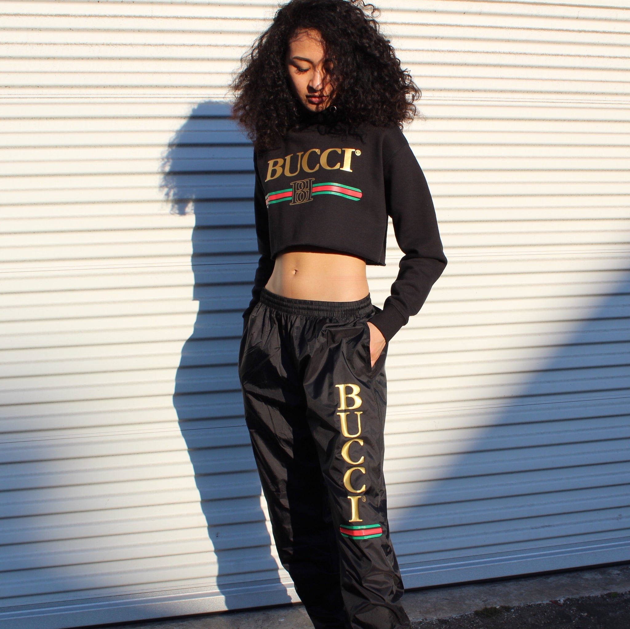 BLACK BUCCI NYLON TRACK PANTS