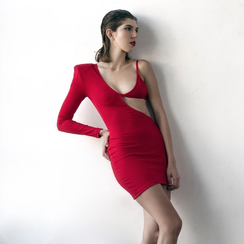 RED JERSEY REVEAL DRESS