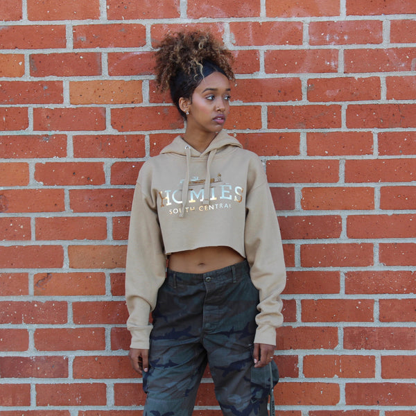 HOMIÉS GOLD FOIL CROPPED HOODIE