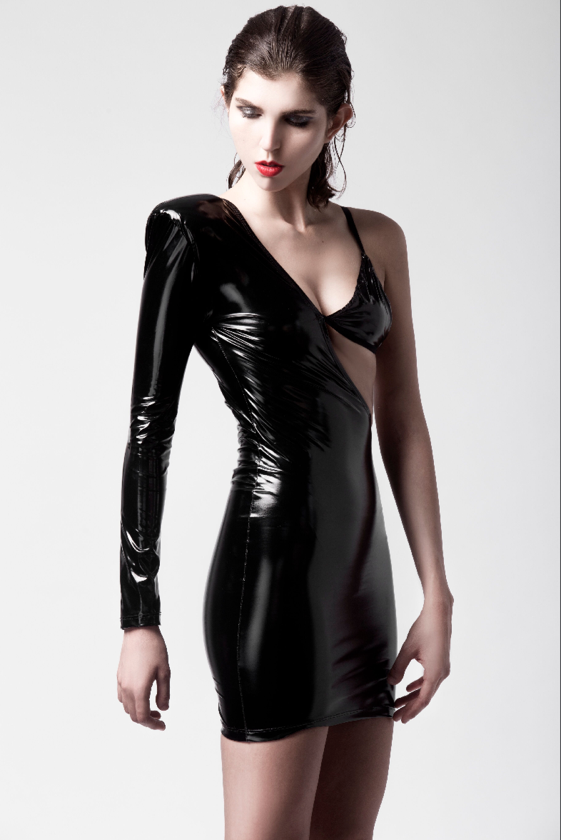 BLACK PVC REVEAL DRESS