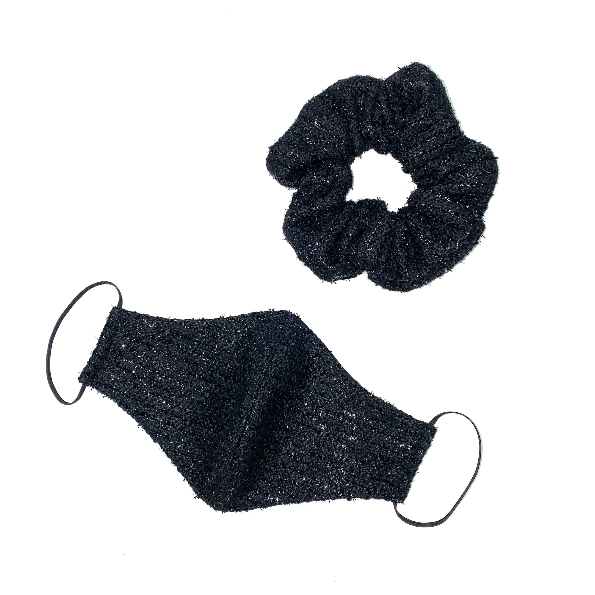 BLACK LUREX TWEED SCRUNCHIE / MASK SET