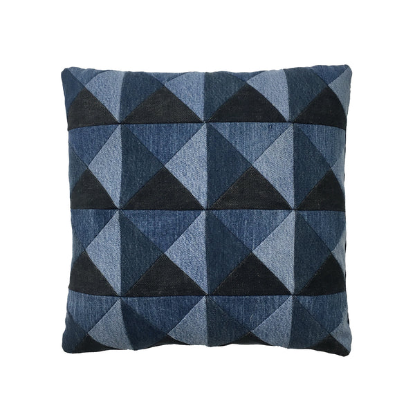 BLUE DENIM PATCHWORK PILLOW