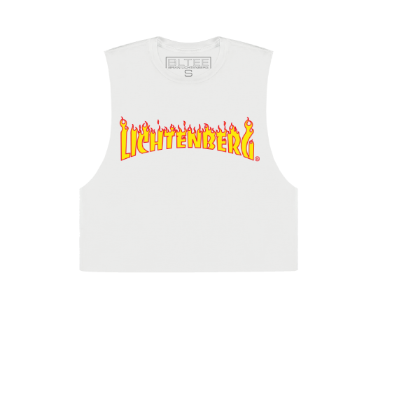 LICHTENBERG FLAMES CROPPED MUSCLE TEE