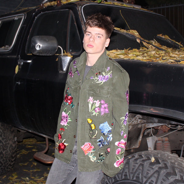 FLORAL EMBROIDERED ARMY JACKET
