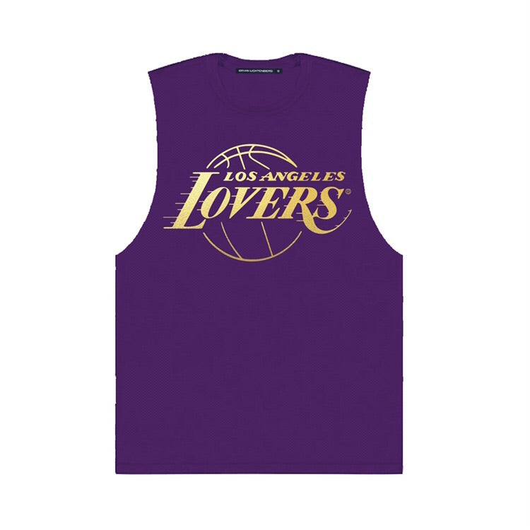 LOVERS GOLD FOIL PURPLE MUSCLE TEE