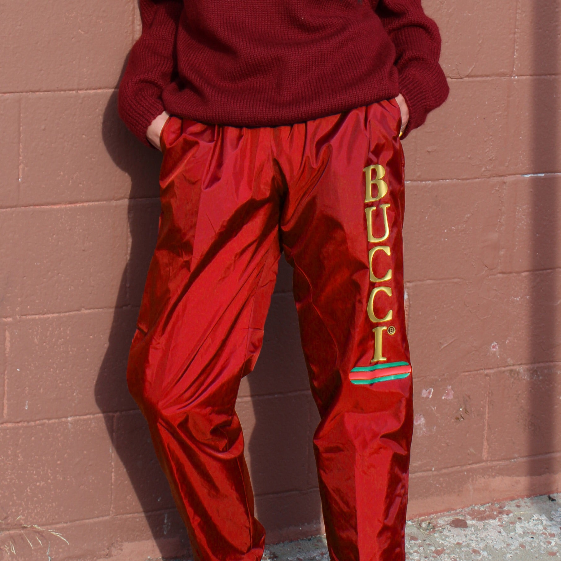 RED BUCCI NYLON TRACK PANTS
