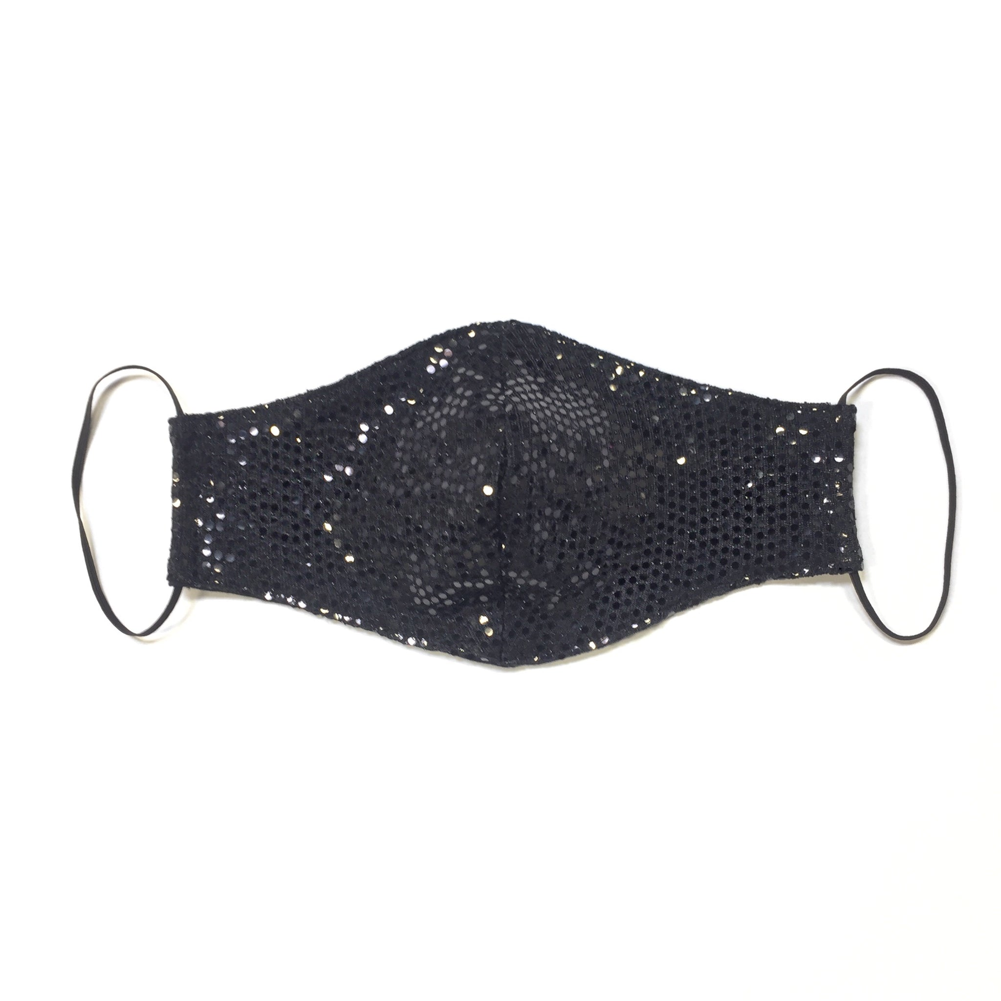 METALLIC BLACK DOTTED FACE MASK