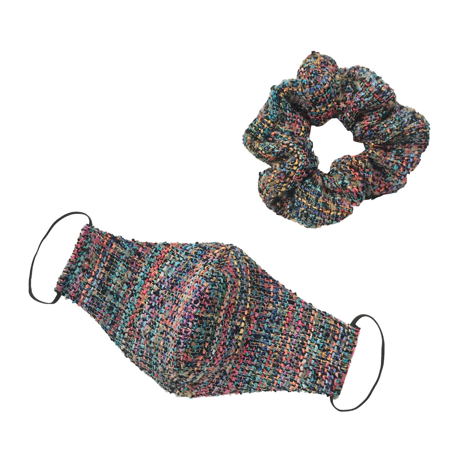MULTI-COLOR TWEED SCRUNCHIE / MASK SET