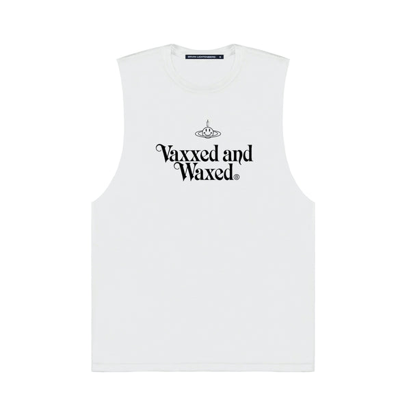 VAXXED AND WAXED MUSCLE TEE