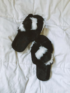 Color Block Fur Slides