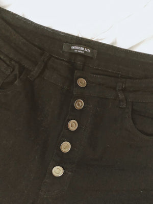 High Rise Button Jeans