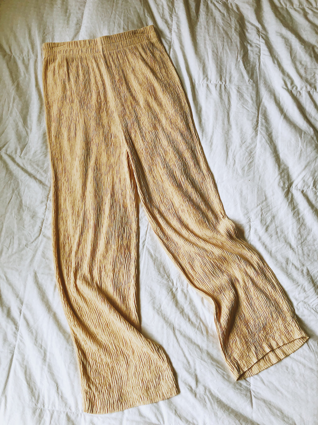Vintage Tan Crinkle Pants