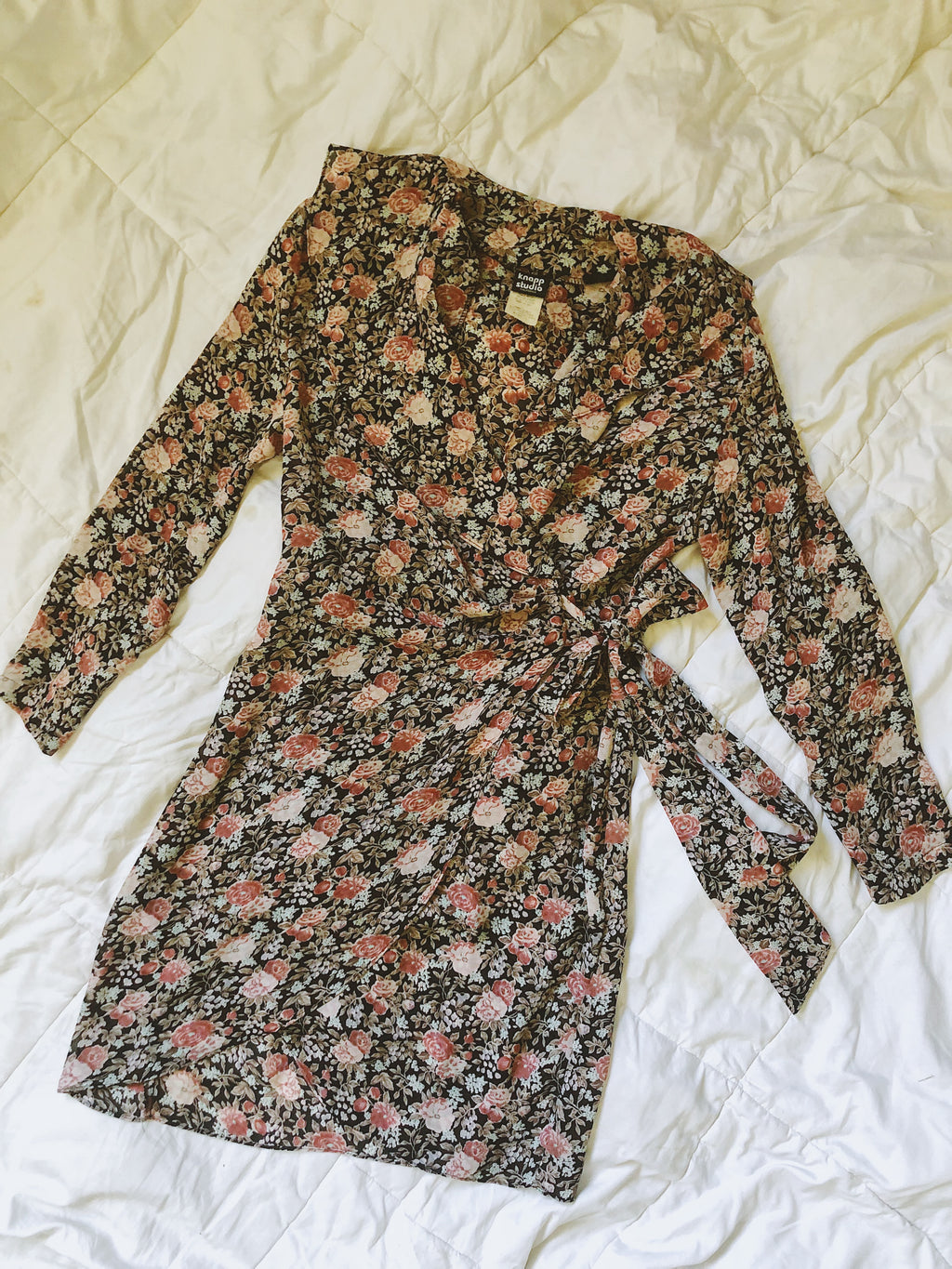 Vintage Floral Chiffon Wrap Dress
