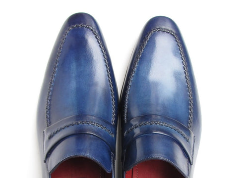 Paul Parkman Men's Loafer Shoes Navy Leather Upper and Leather Sole - The Big Boy Store