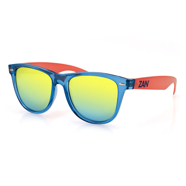 MINTY BLUE AND ORANGE FRAME, SMOKED YELLOW MIRRORED LENS SUNGLASSES - The Big Boy Store