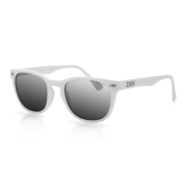NVS MATTE WHITE FRAME, SMOKED REFLECTIVE LENS SUNGLASSES - The Big Boy Store