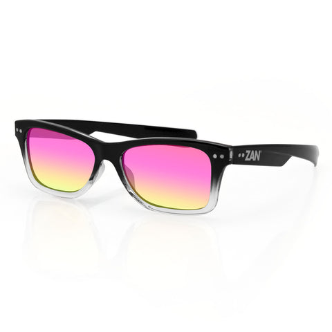 TRENDSTER BLACK GRADIENT, SMOKED PURPLE MIRROR LENS SUNGLASSES - The Big Boy Store