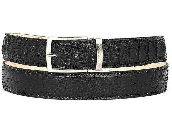 PAUL PARKMAN Men's Black Genuine Python (snakeskin) Belt - The Big Boy Store