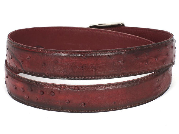 PAUL PARKMAN Men's Bordeaux Genuine Ostrich Belt - The Big Boy Store