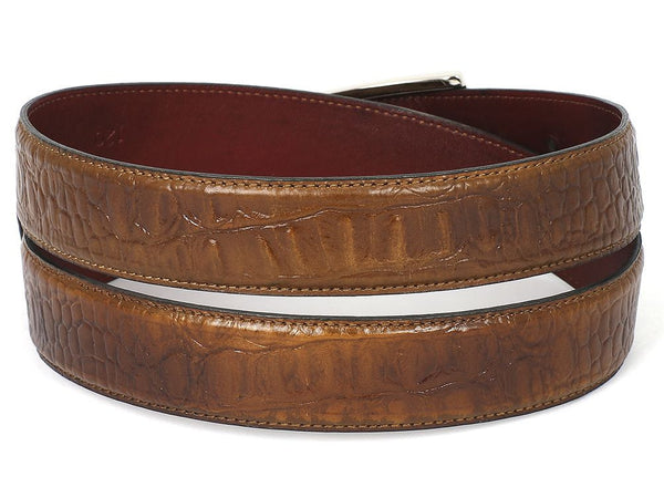 PAUL PARKMAN Men's Crocodile Embossed Calfskin Leather Belt Hand-Painted Olive - The Big Boy Store