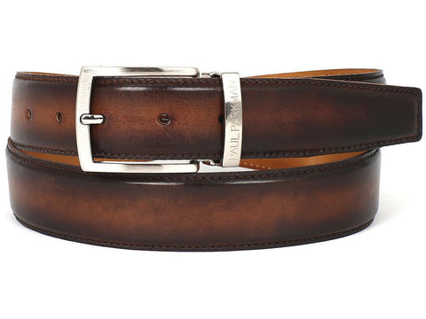 PAUL PARKMAN Men's Leather Belt Hand-Painted Brown and Camel - The Big Boy Store