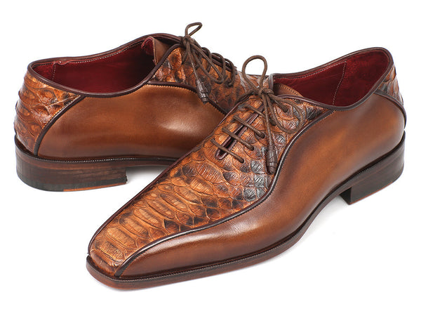 Paul Parkman Brown Genuine Python & Calfskin Bicycle Toe Oxfords - The Big Boy Store