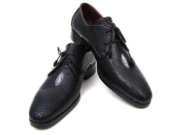 Paul Parkman Full Genuine Black Stingray Goodyear Welted Derby Shoes For Men - The Big Boy Store