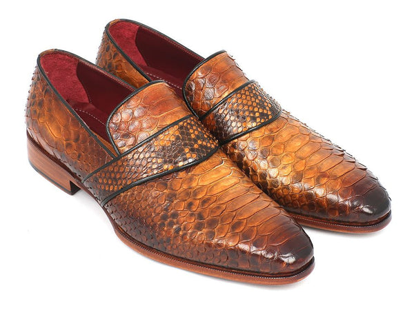 Paul Parkman Genuine Python Loafers Camel - The Big Boy Store