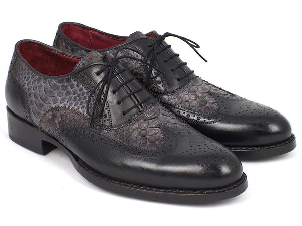 Paul Parkman Goodyear Welted Gray Genuine Python & Black Calfskin Wingtip Oxfords - The Big Boy Store