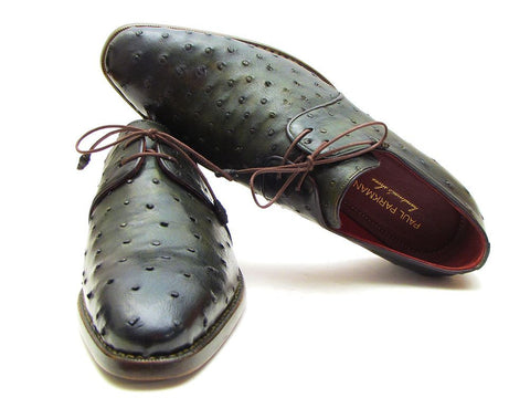 Paul Parkman Goodyear Welted Green Genuine Ostrich Derby Shoes - The Big Boy Store