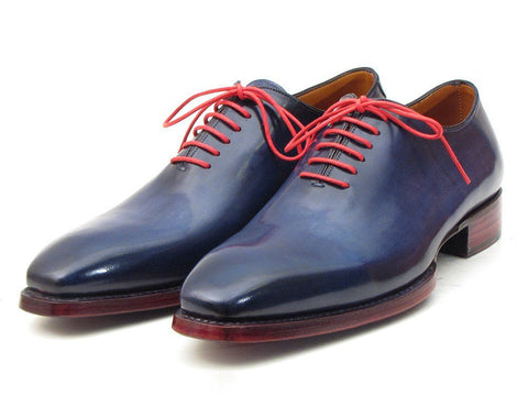 Paul Parkman Goodyear Welted Wholecut Oxfords Navy Blue Hand-Painted - The Big Boy Store