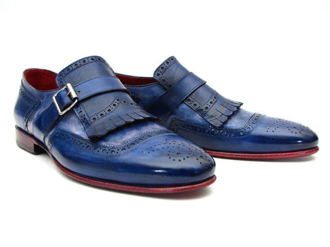 Paul Parkman Kiltie Monkstrap Shoes Dual Tone Blue Leather - The Big Boy Store
