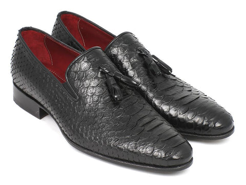 Paul Parkman Men's Black Genuine Python Tassel Loafers - The Big Boy Store