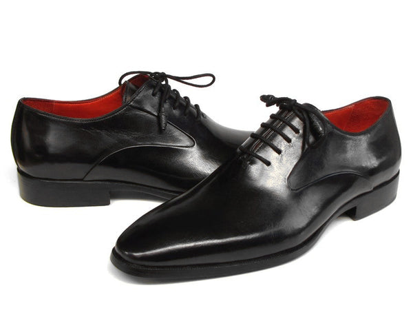 Paul Parkman Men's Black Leather Oxfords - Side Hand-sewn Leather Upper and Leather Sole - The Big Boy Store