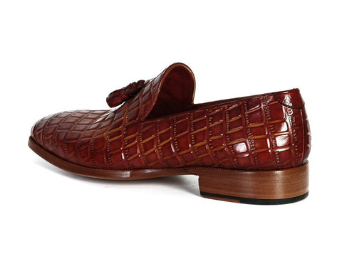 Paul Parkman Men's Brown Crocodile Embossed Calfskin Tassel Loafer - The Big Boy Store