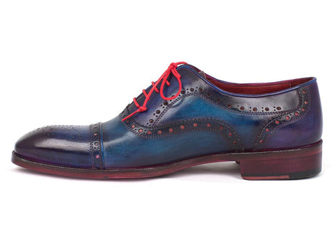 Paul Parkman Men's Captoe Oxfords Blue Suede - The Big Boy Store