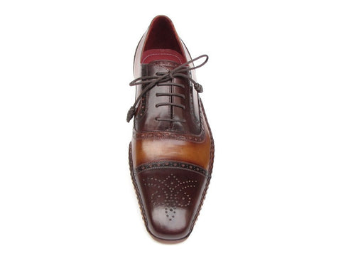 Paul Parkman Men's Captoe Oxfords Brown Hand Painted Shoes - The Big Boy Store