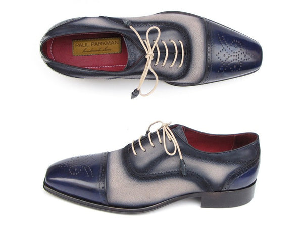 Paul Parkman Men's Captoe Oxfords - Navy / Beige Hand-Painted Suede Upper and Leather Sole - The Big Boy Store