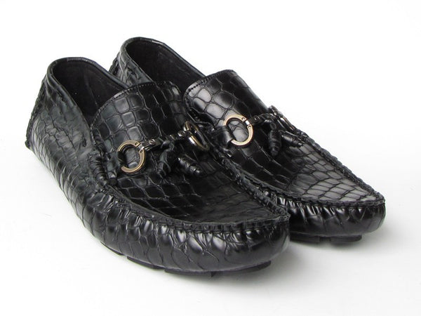 Paul Parkman Men's Driving Moccasin Black Croco Embossed Calfskin Upper with Rubber Nubbed Sole - The Big Boy Store