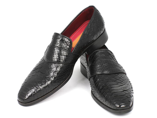 Paul Parkman Men's Genuine Python Loafers Black - The Big Boy Store