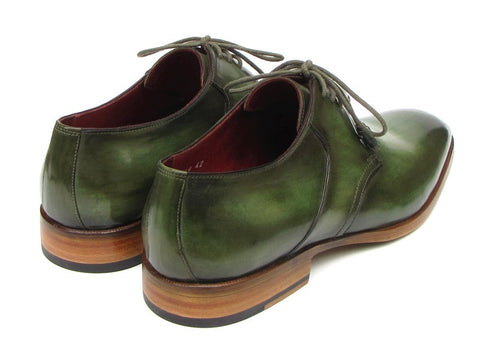 Paul Parkman Men's Green Hand-Painted Derby Shoes Leather Upper and Leather Sole - The Big Boy Store