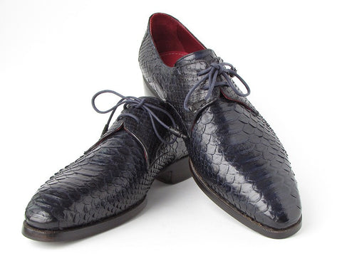 Paul Parkman Men's Navy Genuine Python (snakeskin) Derby Shoes - The Big Boy Store