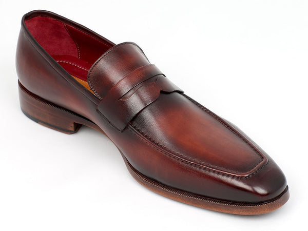 Paul Parkman Men's Penny Loafer Bordeaux and Brown Calfskin - The Big Boy Store